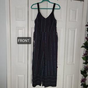 Wide leg striped overalls